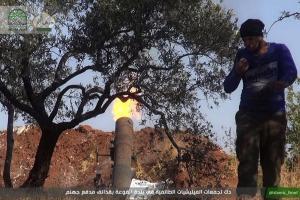 Opposition faction Ahrar al-Sham fire artillery shells on al-Fu'ah. Image courtesy of @Ahrar_lens.