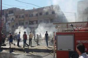 VBIED explosion in al-Zahra Neighborhood, Homs. Image courtesy of @Journalist_Omar.