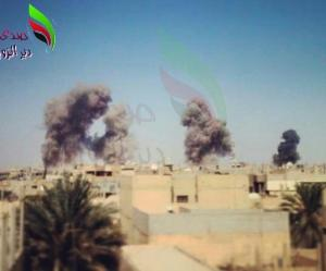 Explosions caused by SyAF airstrikes on Mayadin. Image courtesy of @wayf44rer14.