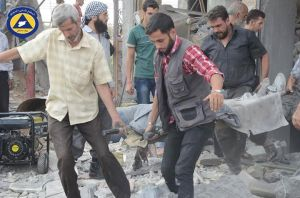 Rescue teams in SyAF airstrikes aftermath in Mesraba. Image courtesy of @EatingMyPeaz.