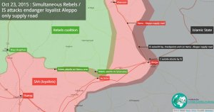Map of the IS attack on the SAA supply road to Aleppo. Full credit for the map: @IUCAnalysts.