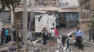 Damage caused by opposition shell. 4 civilian casualties. Image courtesy of @edwardedark.