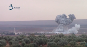 RuAF airstrikes on opposition forces in Sukayk. Image courtesy of Qasioun News.