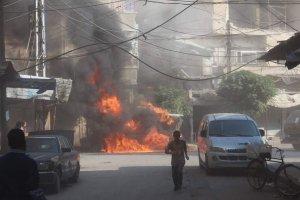 A fire rages in Duma after SyAF airtsrikes. Image courtesy of @riyadhalassad.