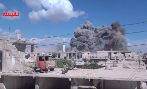 Explosion in Talbisah caused by russian air force airstrikes. Image courtesy of @JulianRoepcke.
