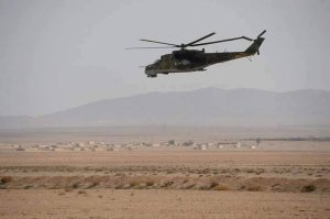 140316 @islamicworldupd Russian attack helicopter in Palmyra battlefront